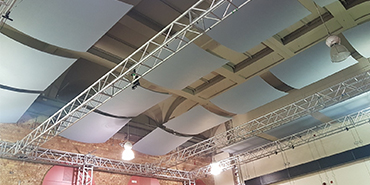 New acoustic ceiling panels at London South Bank Edric Hall Theatre