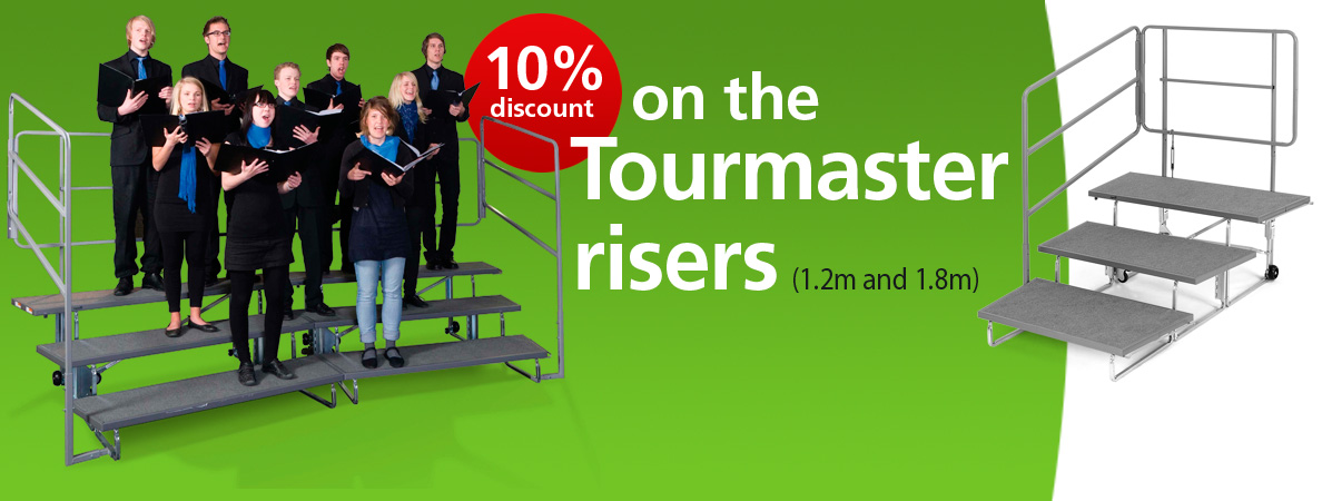 10% off Tourmaster Choral Risers throughout July and August