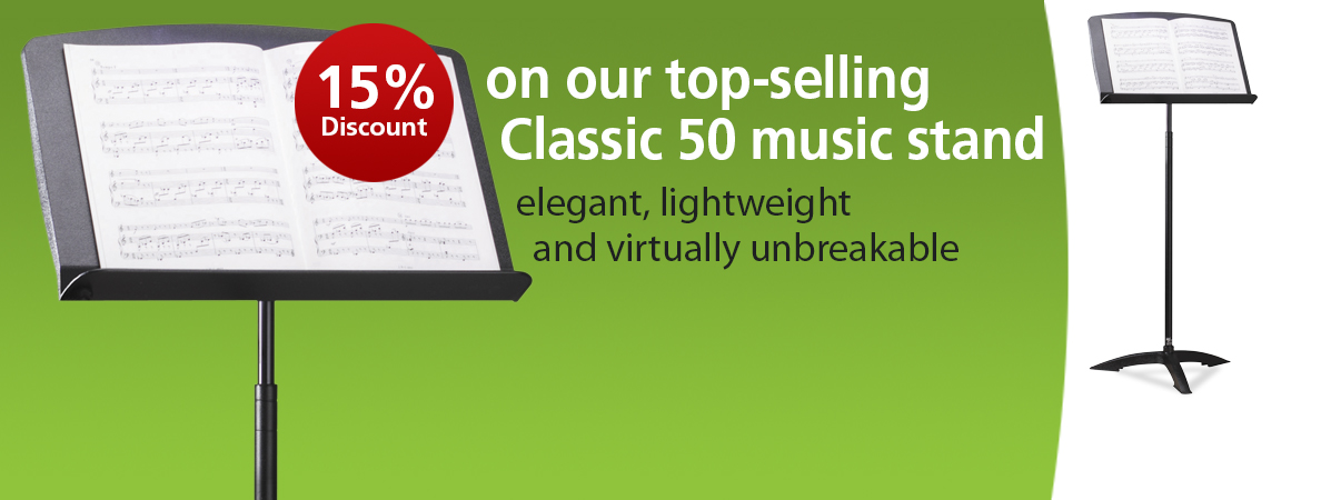 15% off the Classic 50 music stand throughout May