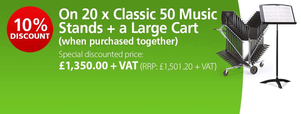 10% Discount on 20 Classic 50 Music Stands & Large Move & Store Cart when purchased together